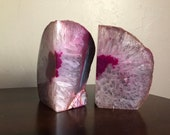 Pink Agate Bookends