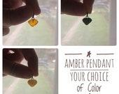 Polished Baltic Amber Pendant / Heart Shaped Amber / Delicate Pendant / Crystal Healing / Reiki Stone