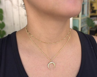 Crescent Necklace, Double horn necklace, moon necklace, layered necklace, Tusk Necklace, charm necklace, Gold Layering Necklace,