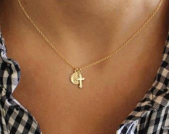 Tiny Cross & Saint Charm Necklace, Vintage Cross, Virgin Mary Cross Necklace, Mary Necklace, Gold Mary Cross Necklace, dainty charm up