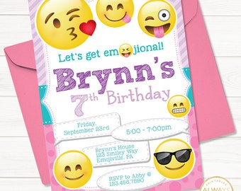 Emoji Invitation Invite Birthday Party Emoticon Printable Digital File