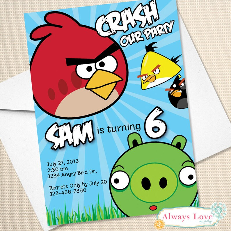 Angry Birds Birthday Invitation Angry Birds Invite Angry Birds Party Printable Digital File