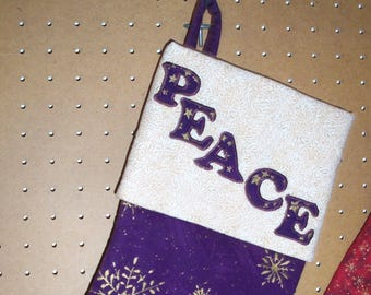 Christmas Stocking with Cuff & Hanger, Lined with Peace Applique'...