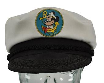 55aa0e44becd30 Vintage 70s 80s MICKEY MOUSE Snap-Back Captains Hat | fisherman hat cap  Disney nautical sailing sailor Disney World snapback anchor boating