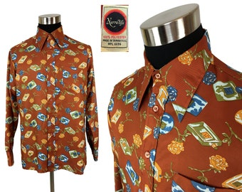 Vintage 70s Cologne & Roses Disco Button-Down Shirt by Narratifs LARGE - 1970s - Disco Fever - Throwback - Polyester - Dance Party - L