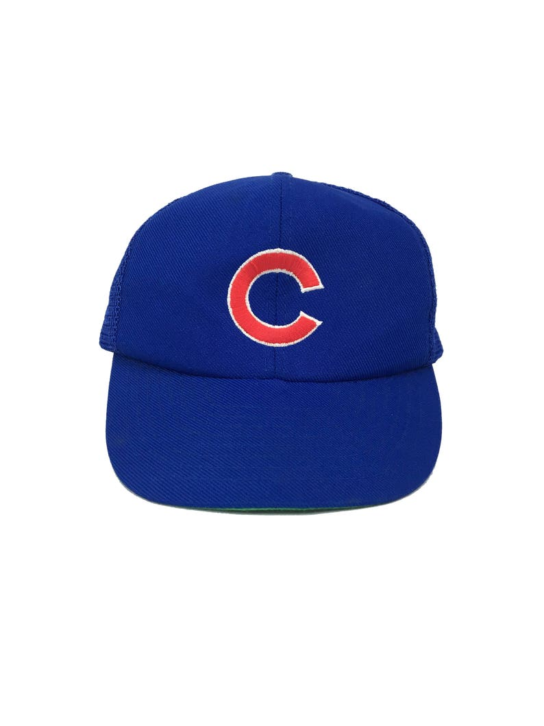 135d884fcaa3f Vintage 80s Chicago CUBS Snap-Back Trucker Cap    Baseball Hat