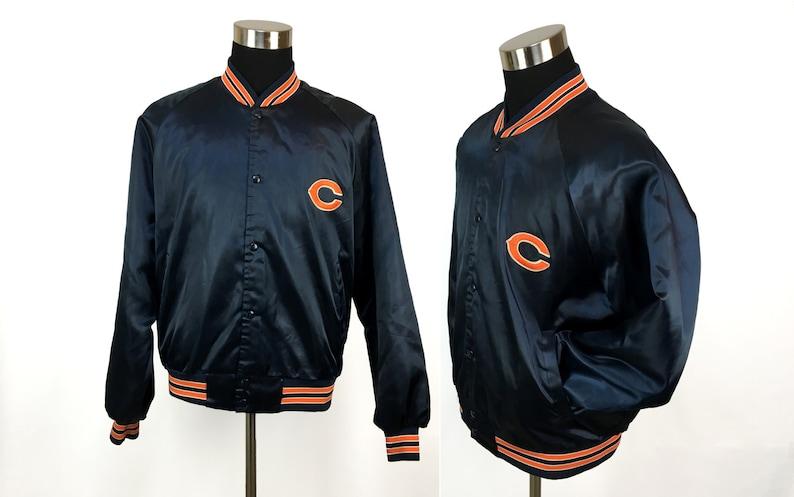 6f0acc29 Vintage 80s Chicago BEARS Satin Coach's Jacket LARGE | NFL 1980s football  bomber coat nylon athletic warm tailgate tailgating fall L retro