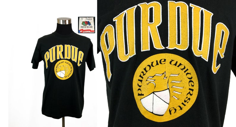 cheap for discount eb66a be626 Vintage 80s PURDUE University T-Shirt LARGE // Boilermakers // NCAA //  College // Basketball // Big Ten // 1980s // Alumni // Gift