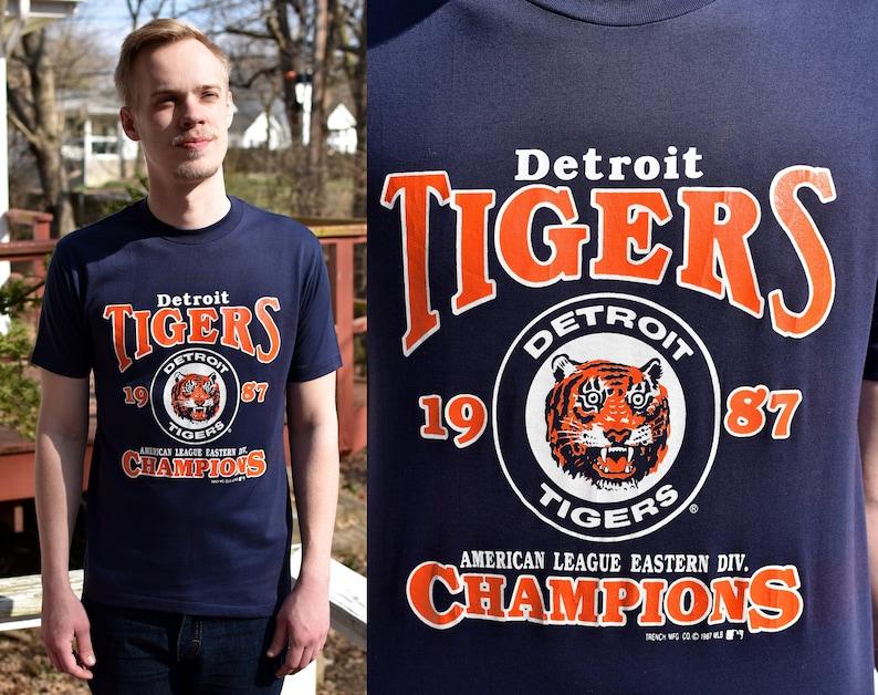 43dbc552 Vintage 1987 Detroit Tigers Eastern Division Champions T-Shirt | Etsy