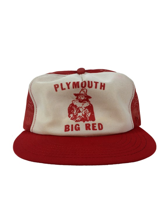 5728fb91 Vintage 80s Plymouth BIG RED Trucker Hat snapback mesh | Etsy