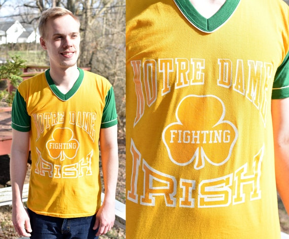 Vintage 70s 80s NOTRE DAME Fighting Irish Athletic T Shirt Medium Large   NCAA college basketball football Indiana alumni 1970s 1980s retro