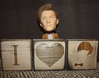 Peace, Love & the Doctor or I <3 The Doctor   Dr. Who Desk/Shelf Decor Blocks