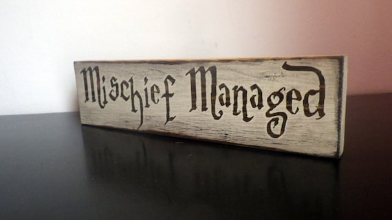 Harry Potter Wood Sign Decor Mischief Managed Marauders Etsy