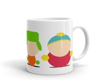 South Park Inspired Mug –Cartman, Kyle, Stan & Kenny South Park Gang Coffee Mug –White Mug –South Park Cartoon