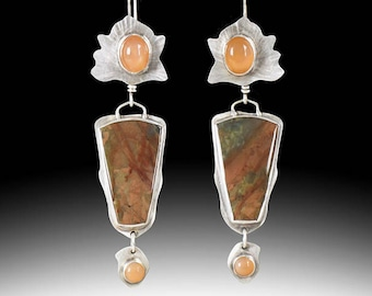 Sterling Silver, Peach Moonstone & Cherry Creek Jasper Dangle Earrings, Handmade, Boho, One Of A Kind, Long Earrings, Statement Jewelry