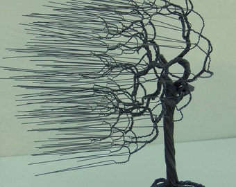Steel Windblown Wire Tree,  Art Sculpture  Handmade