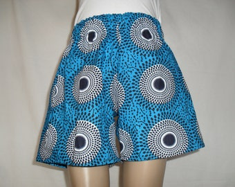 Blue African Print Kids Shorts with circular patterns in Black and White