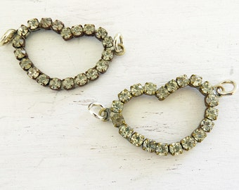 """2 Vintage Rhinestone Hearts with side connector - 1 1/2"""" Great for pendants and bracelets"""
