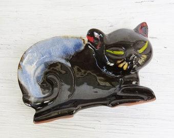 "Cat Trinket Dish or Figurine- Black and Blue Cat Dish- 5 1/2"""