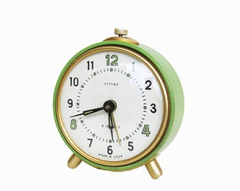 Vintage Lime Green USSR Alarm Clock - Vityaz Made in the USSR- Decorative- NOT working