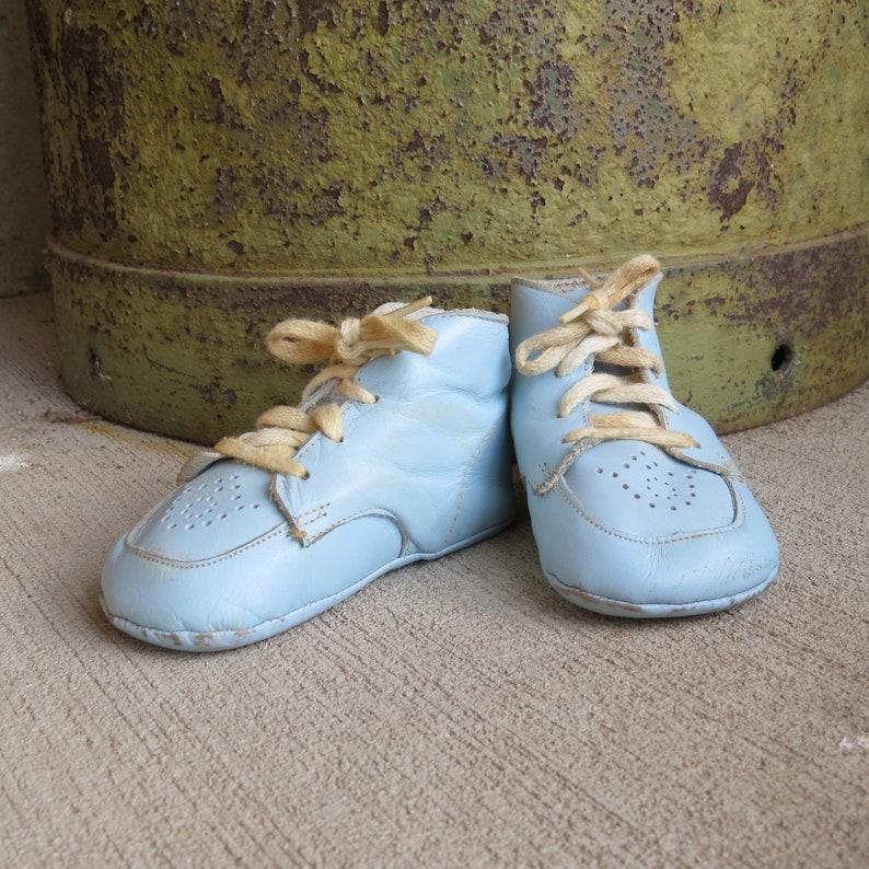 10e0f9864 Vintage Blue Baby Booties Shoes in original box Cutie Pie Baby