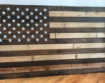 Reclaimed Pallet American Flag Hanging Wall Art 55 Wide X 34 Tall Natural