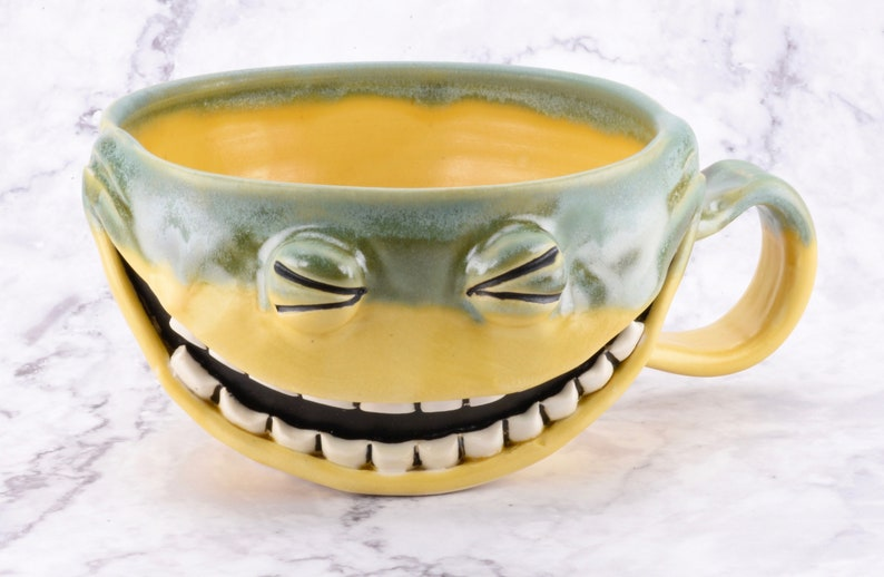 Follow Your Bliss Mug ceramic face mug, functional kitchen decor, sculptural art object, ceramic latte cup