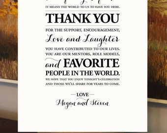 Wedding Thank You Sign - Digital File - Custom Printable - DIY - Personalized