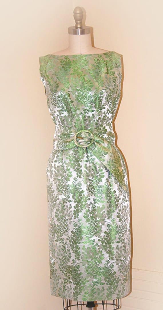 """Mint Green Brocade """"Elaine Terry"""" Evening Dress"""