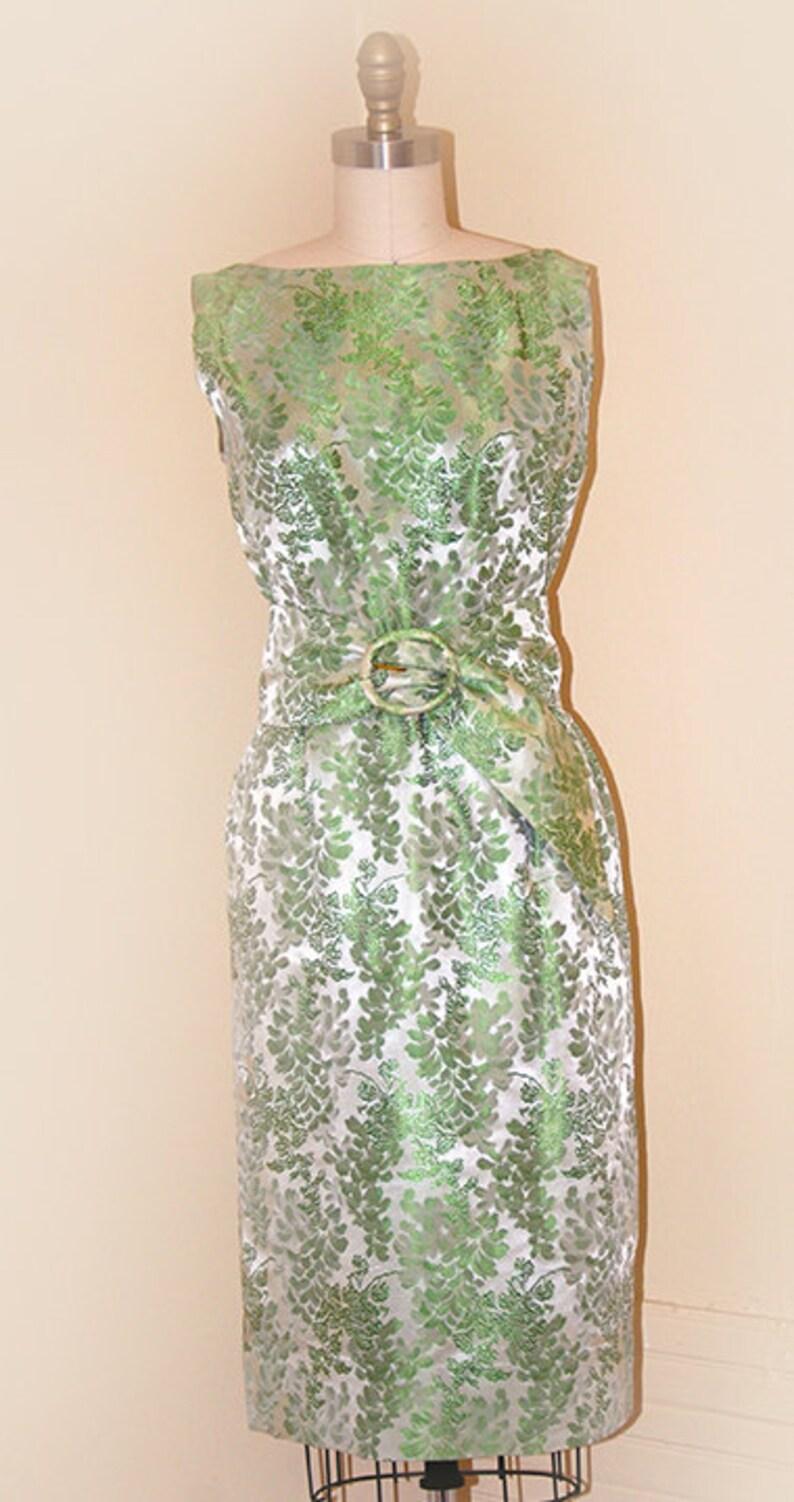 Mint Green Brocade Elaine Terry Evening Dress image 0