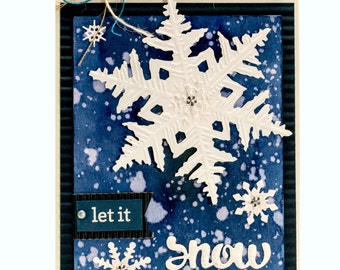 Let It Snow Handmade Paper Christmas Card, Midnight Snowfall Watercolor Greeting Card, Dreaming of a White Christmas Card