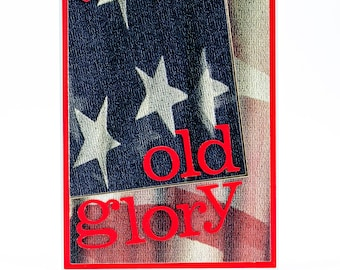 American Flag, Old Glory, Paper Handmade Greeting Card, Patriotic Paper Card, Veterans Day, Stars and Stripes, Note Cards Handmade