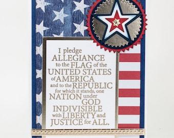 Pledge of Allegiance, Veterans Day Card, One Nation Under God, Note Card Handmade