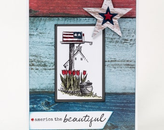 Patriotic Mailbox, Stars and Stripes, America the Beautiful, Sea to Shining Sea, Note Cards Handmade, Red, White, Blue, American Flag