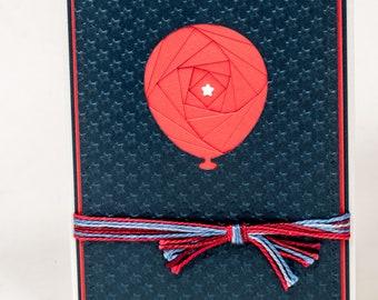Patriotic Notecard, Handmade, Americana, Balloon, Made in USA, Veterans Day, Whimsical