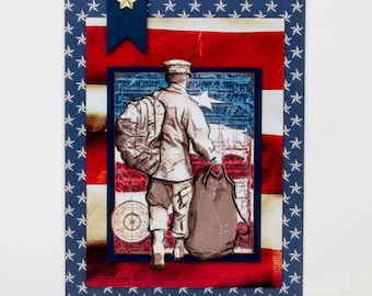 Veterans Day Card, Land Of The Free Because Of The Brave, Handmade Thank You Note