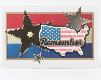 Honor Flight, Veterans Day Card, Handmade Paper Greeting, Proud American, Made in USA