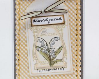 Handmade Paper Card, Lily of the Valley, Dearest Friend, Stitching, Yellow and Gray, A Little Note To Say
