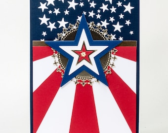 Stars and Stripes, Handmade Note Card, God Bless America, United States
