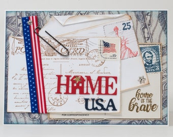 God Bless America, Home USA, Brave, Paper Handmade Card, Postcards and Letters, Postage Stamps
