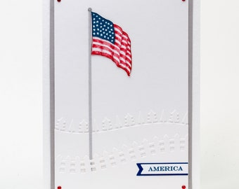 American Flag, United States of America, Land That I Love, Paper Handmade Card, Red, White, Blue Note Card, Americana, Honor Flight