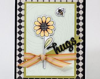 Handmade Paper Greeting, Checkers, Hugs, Bee, Just Because, Friendship