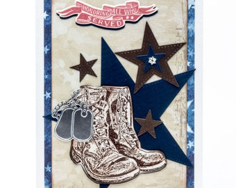 Military Boots, Thank You, Handmade Paper Card, Hero, Stars and Stripes Forever, Honor Flight