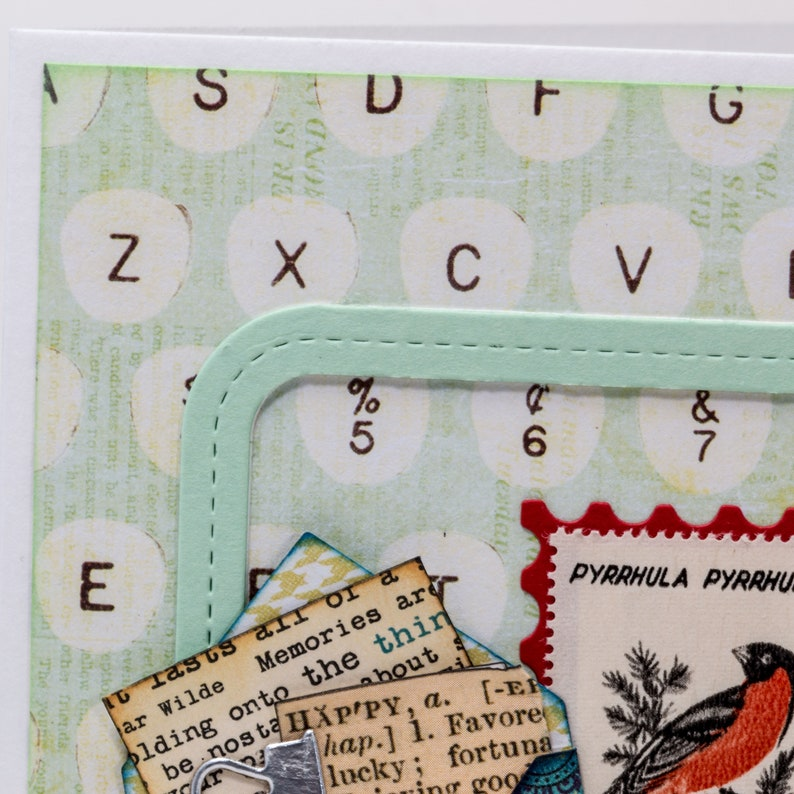Hello Tiny Envelope Typewriter Handmade Paper Card Postage Stamp