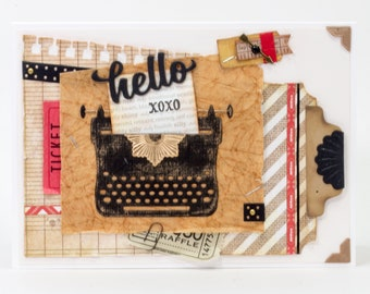 Vintage Typewriter, Handmade Greeting Card, Tickets, Tags, Paper Hello, Hugs