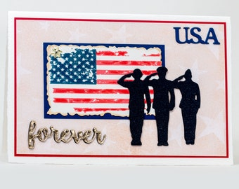 Stars and Stripes, USA Forever, Note Cards Handmade, Red, White, Blue, Salute American Flag