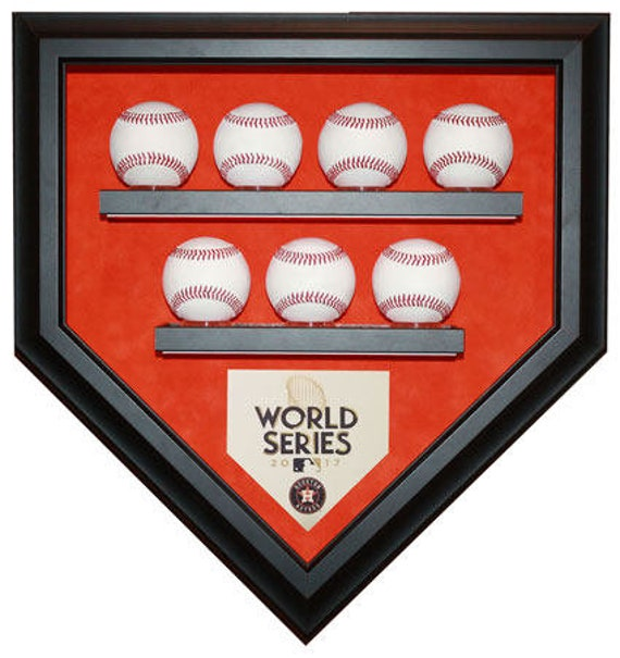 Houston Astros 7 Baseball 2017 World Series Champions Homeplate Shaped Display Case