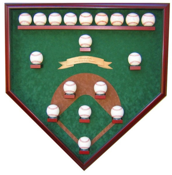 Chicago Cubs 18 Baseball Field View 2016 World Series Champions Homeplate Shaped Display Case