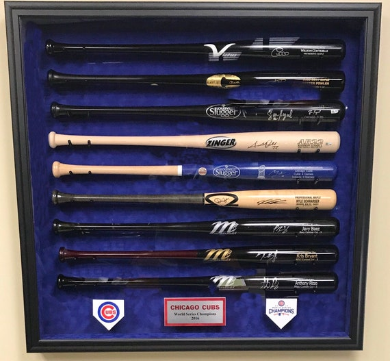 9 Bat Chicago Cubs 2016 World Series Display Case