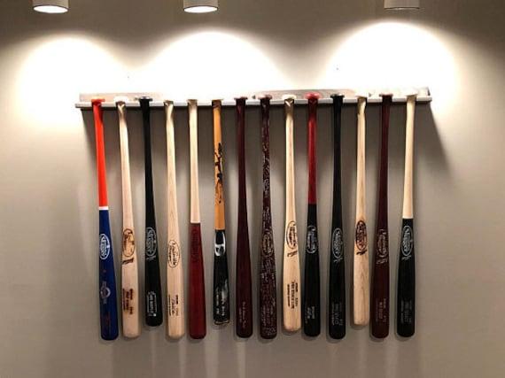14 bat vertical baseball bat display rack for regular bats (youth through adult size) holds softball bats too
